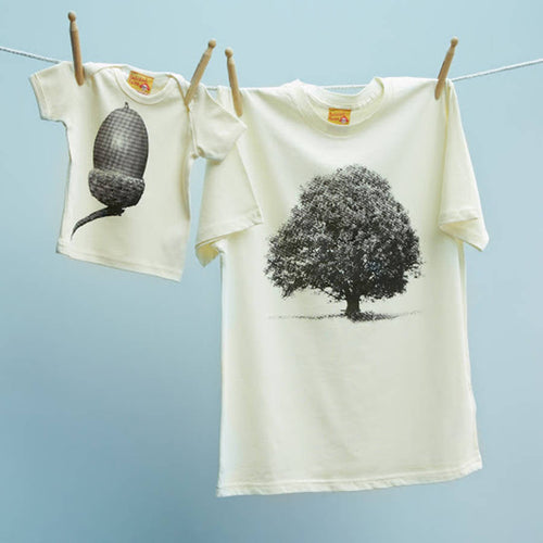 Oak and Acorn cream & black family t shirt set