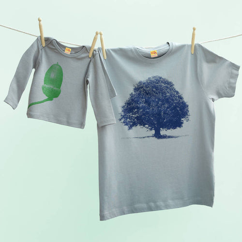 Oak And Acorn navy / green t shirts set for dad & infant