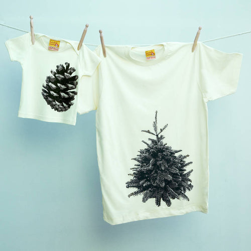 Pine Tree and Pine Cone matching t-shirts for parent and child