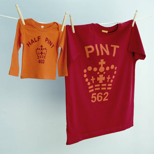 Pint & Half Pint t shirt set for parent and infant in red and orange