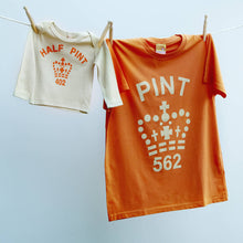 Matching Pint & Half Pint t shirts for infant and adults in orange and cream