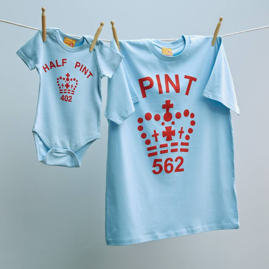 Father and child Pint and Half Pint tops in blue and red