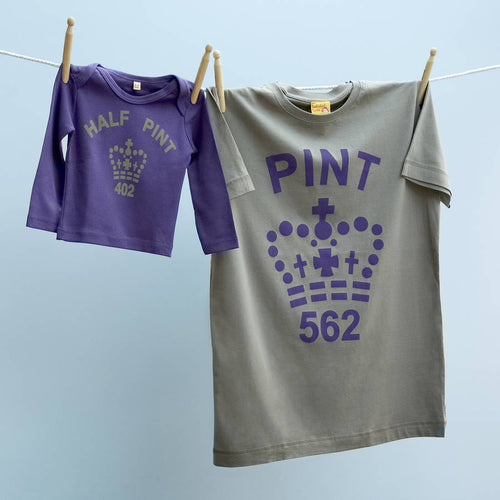 Dad and baby / child matching Pint & Half Pint tops in purple and stone