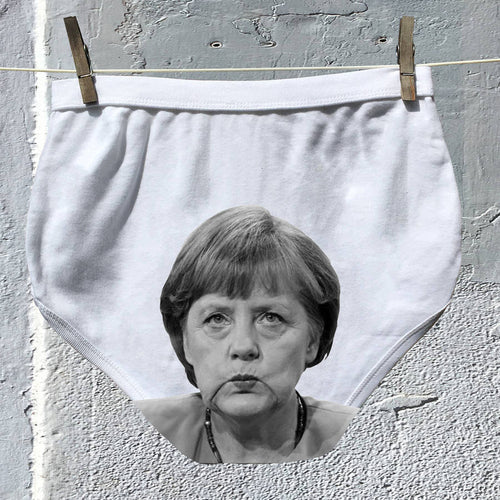Angela Merkel's face on adult Political Pants