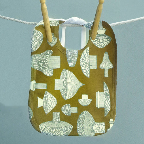 Vintage baby bib - Mushrooms