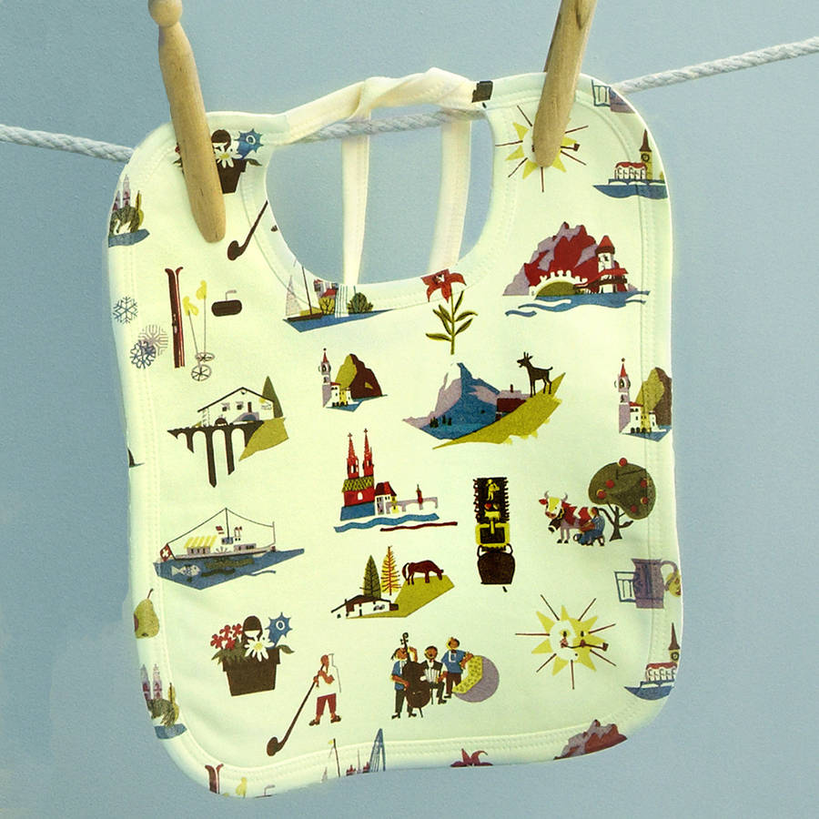 Vintage baby bib - Travel