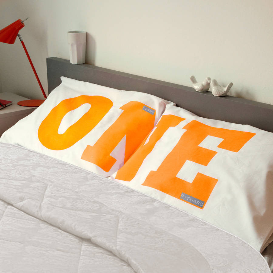 We Are One romantic personalised pillowcase set