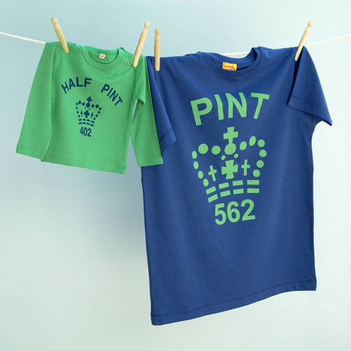 Pint & Half Pint t shirt twinset for dad and child (navy / green)