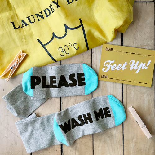 'Please Wash Me'  student socks