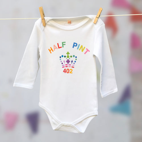 Single rainbow Half Pint organic cotton babygrow