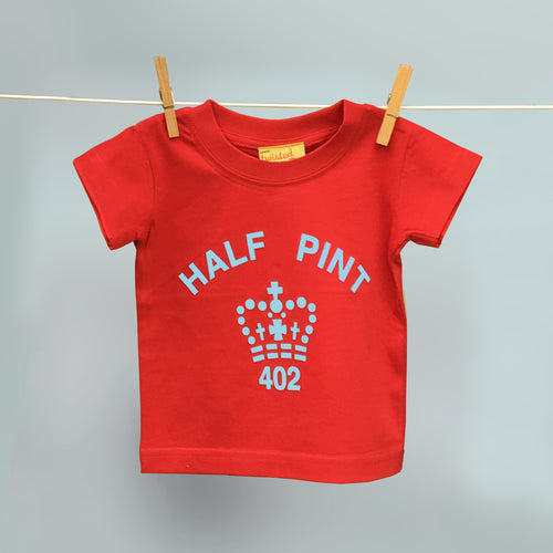 Child's organic Half Pint t shirt in red and pale blue
