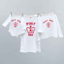 Pint & Half Pint t shirt set in red and white for World Cup supporters