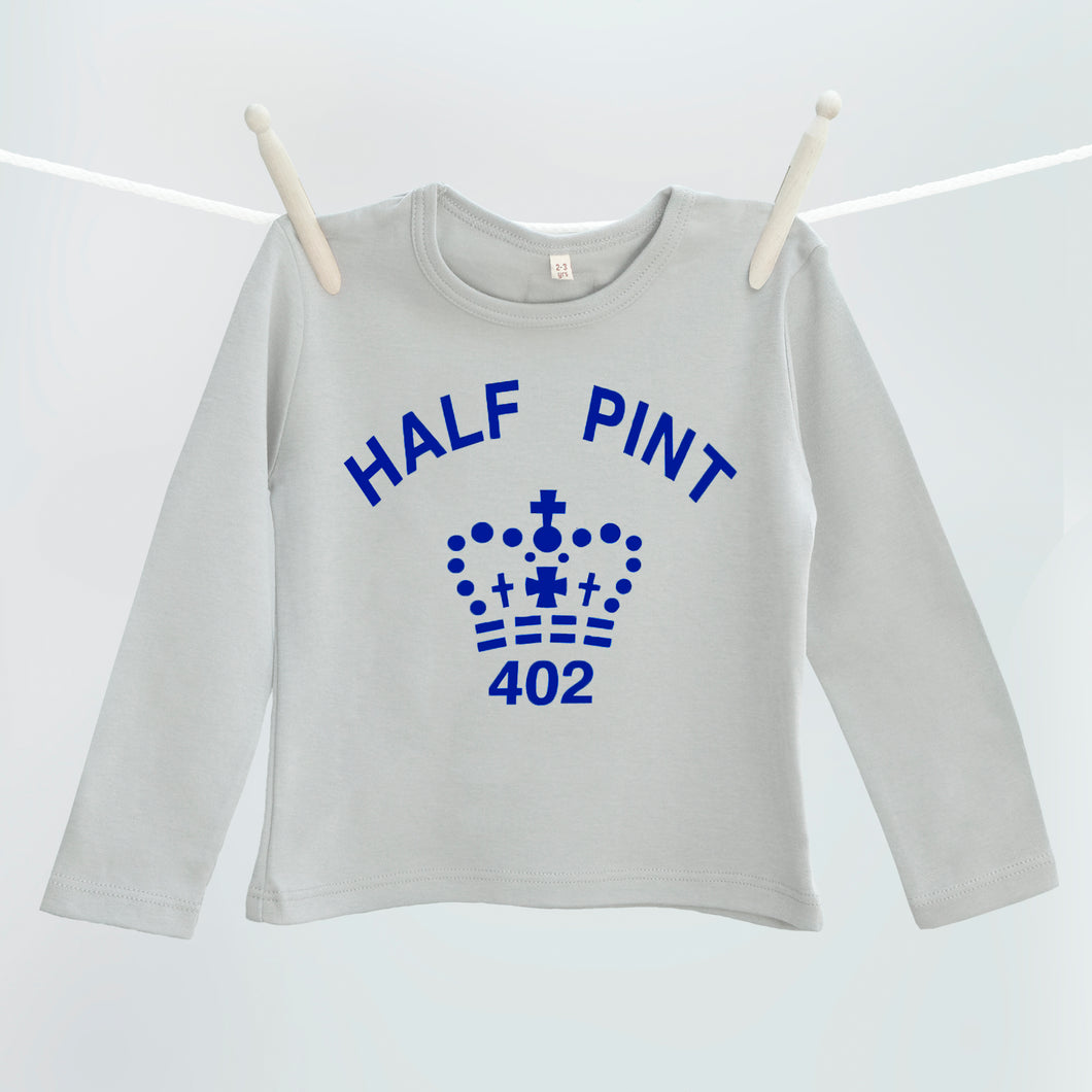 Child's Half Pint organic t shirt in grey and navy