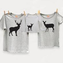 Stag, deer and fawn family t shirt set