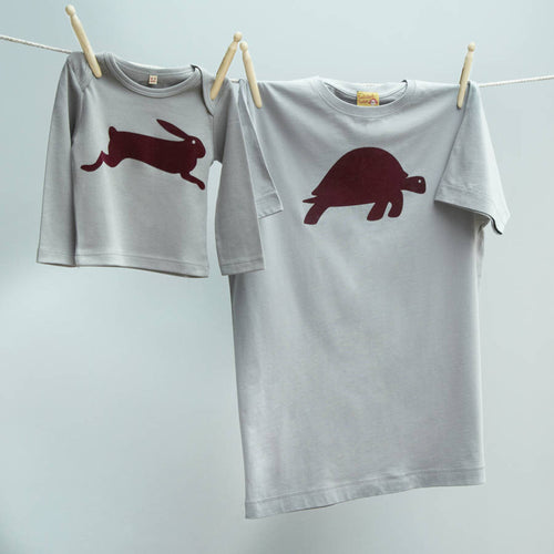 Tortoise & Hare matching t shirt twinset for dad and child / baby