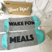 'Please Wake for Meals' Christmas overload socks