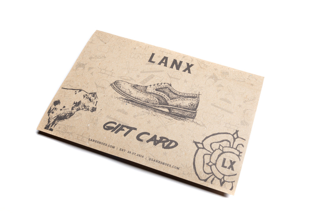 LANX E-GIFT CARD (DIGITAL & EMAILED)-Gift Card | LANX Proper Men's Shoes