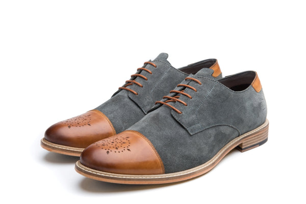 NORMAN // GREY & TAN-MEN'S SHOE | LANX Proper Men's Shoes