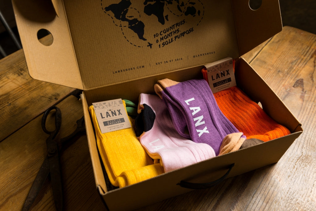 ORANGE & BROWN FLECK-Socks | LANX Proper Men's Shoes