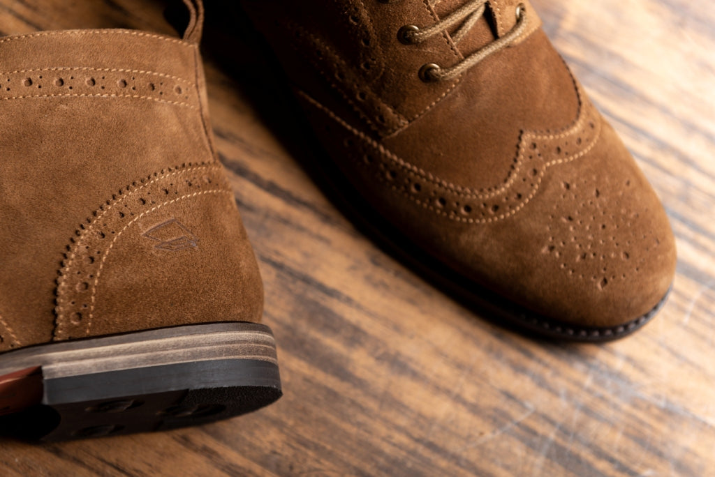 Reilly   Tan Suede Brogue Boots   Lanx