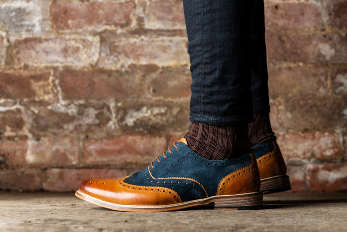 *ANSBRO // TAN & NAVY-MEN'S SHOE | LANX Proper Men's Shoes