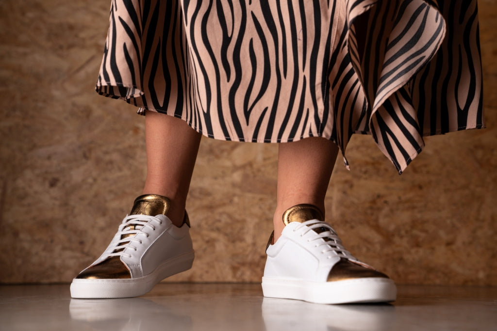 NESS / WHITE & GOLD-Womens Sneakers | LANX Proper Men's Shoes