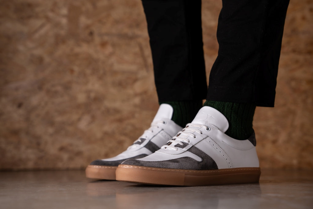 SANKEY // WHITE & GREY-MEN'S SNEAKER | LANX Proper Men's Shoes