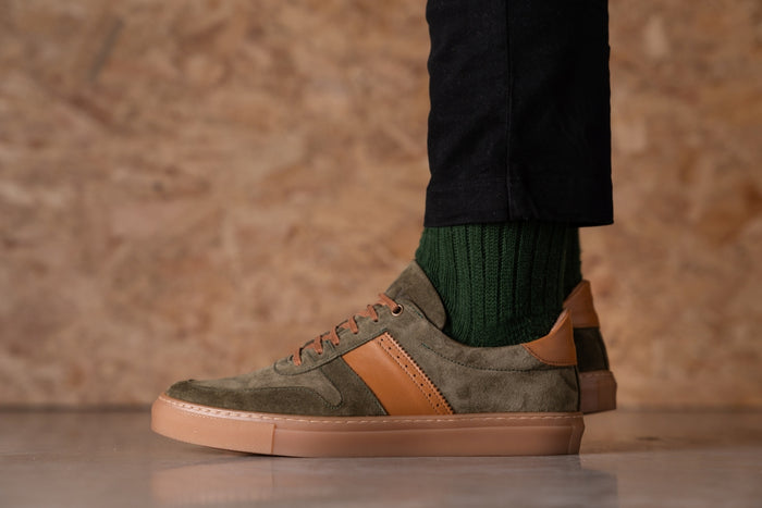 SANKEY // KHAKI & TAN-MEN'S SNEAKER | LANX Proper Men's Shoes
