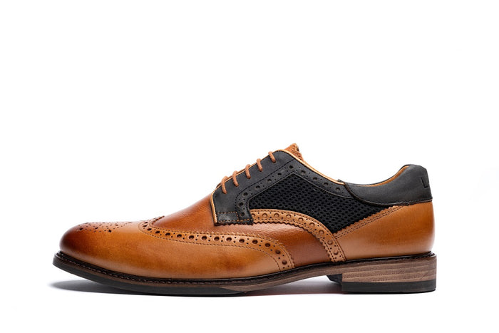 MEDLEY // TAN & GREY-MEN'S SHOE | LANX Proper Men's Shoes