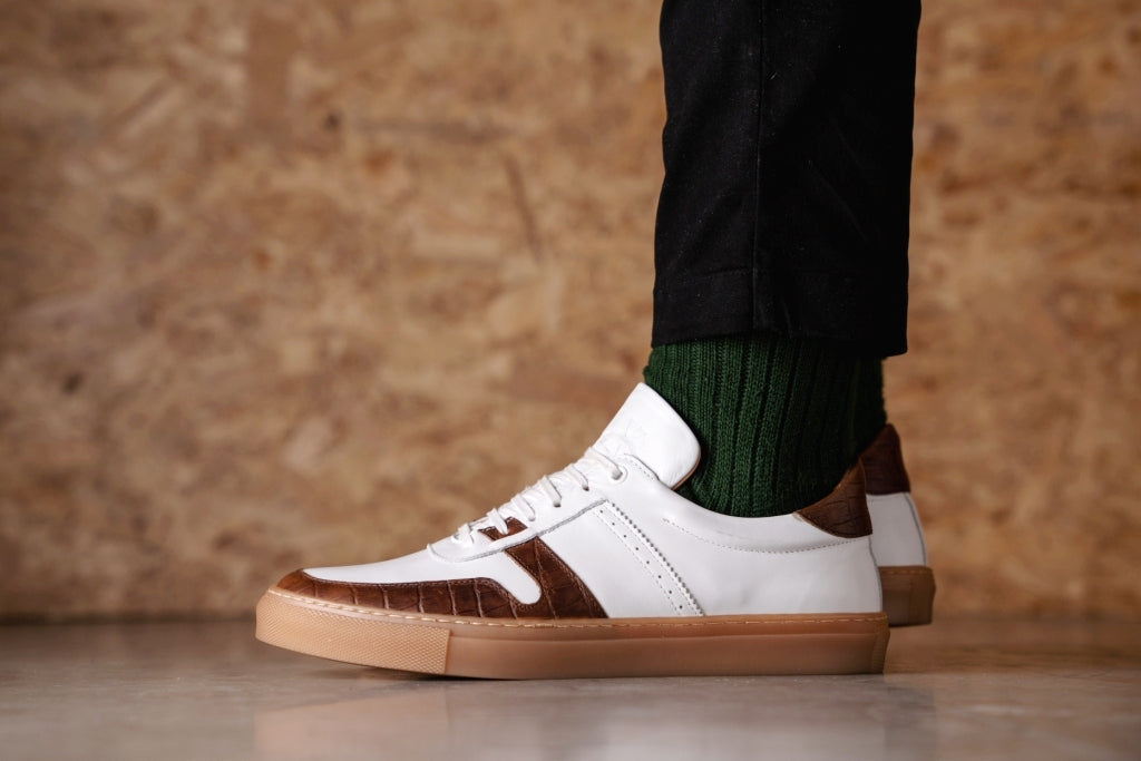 SANKEY // WHITE & CROC-MEN'S SNEAKER | LANX Proper Men's Shoes