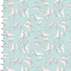 Mint green background with playful unicorns