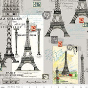 Eiffel Tower images on cotton fabric