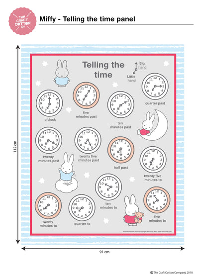 Miffy Telling the Time Grey cotton fabric panel