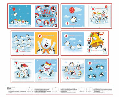 Christmas Penguin Parade Cloth Story Book Panel