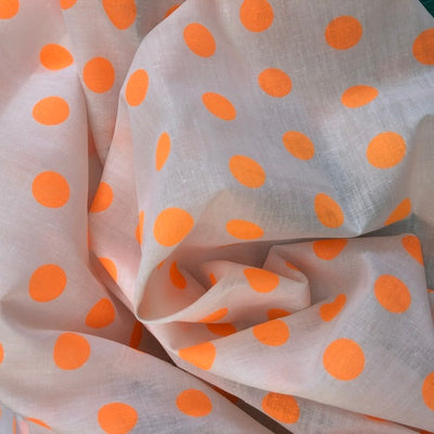 Orange Polka Dot Spot Polycotton