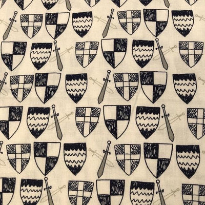 Knights Shields and Swords on White
