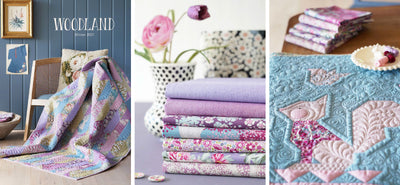 Hazel design in the woodland collection from Tilda, with a quilt made up from the various fabrics.