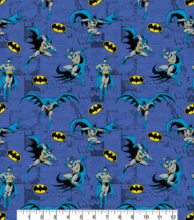 Batman On Comics Blue Cotton Fabric