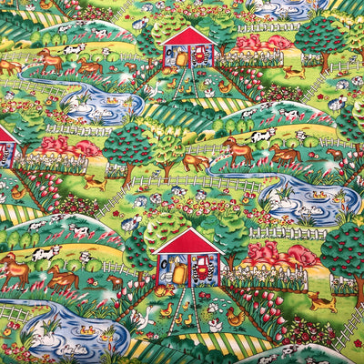 Farmyard cotton fabric