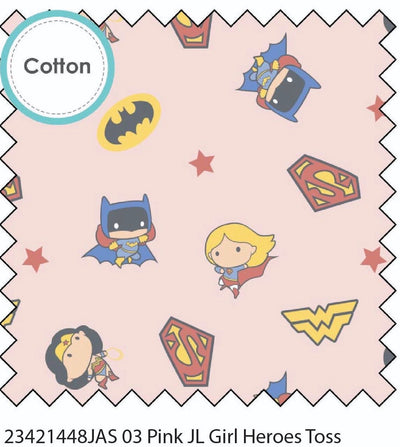 Superheroes Girl Pink Cotton Fabric