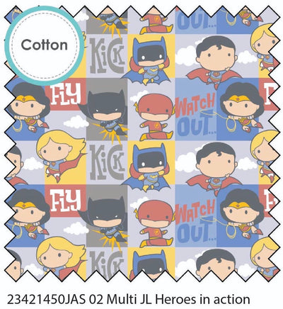 Superheroes in Action Multi Cotton Fabric