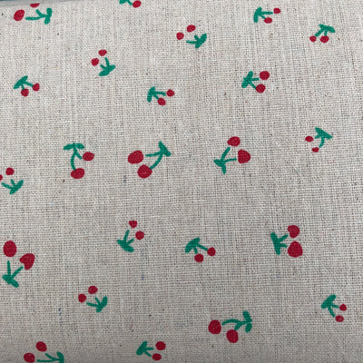 Cherry on Natural , Linen Look Fabric