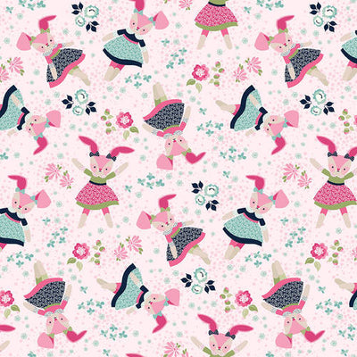 Tossed Bunnies 4969-27 Pink Boho Blooms