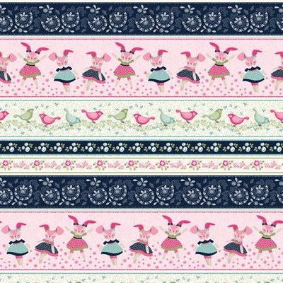 boho blooms border stripe with bunnie
