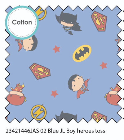 Superheroes Boys Blue  Cotton Fabric
