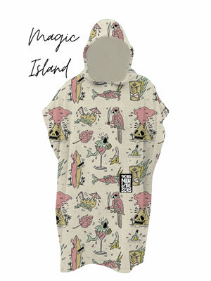 KIDS PONCHO MAGIC ISLAND PRINT