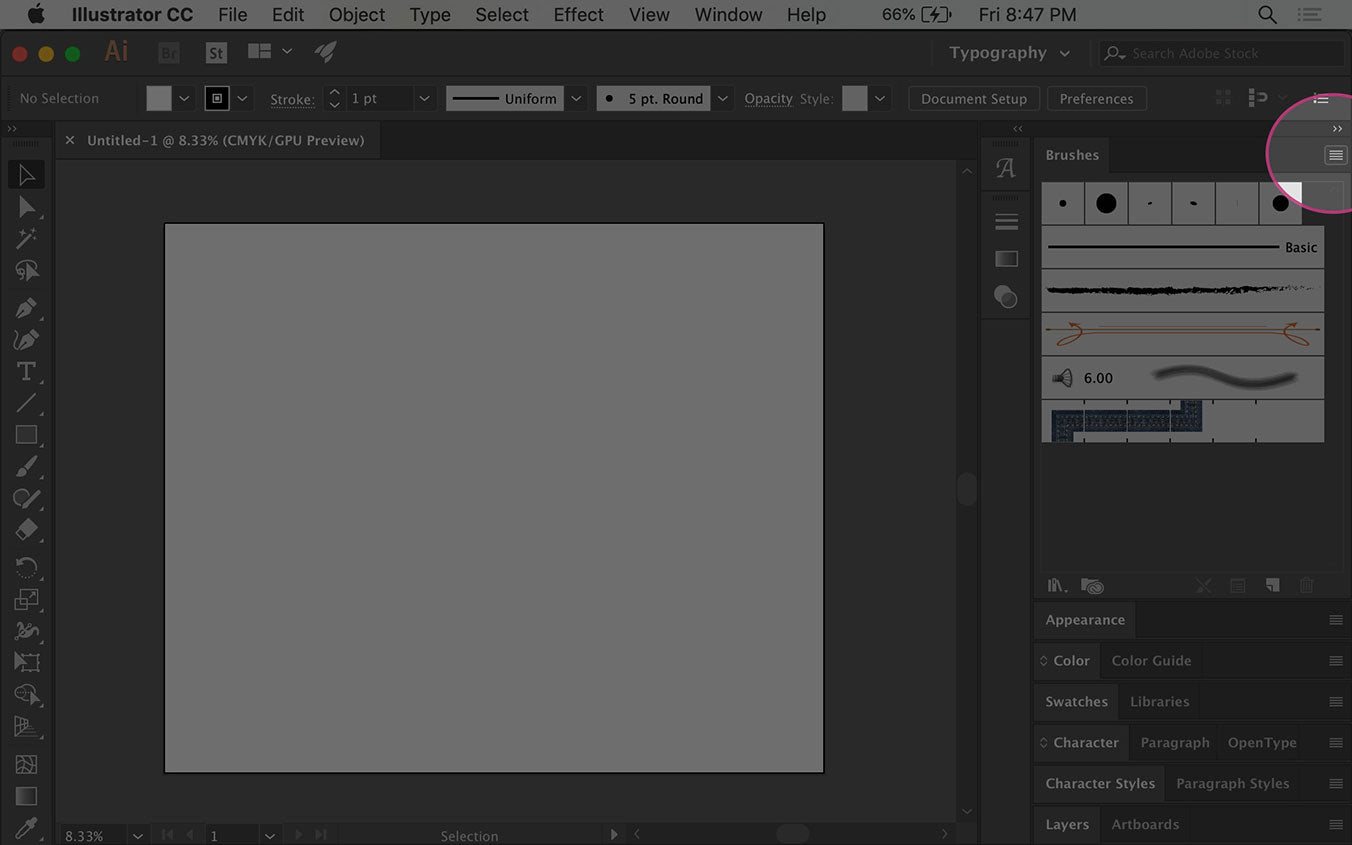 Display the Illustrator Brush menu