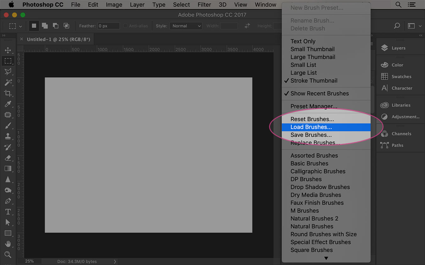 click on load brushes option in photoshop brush menu