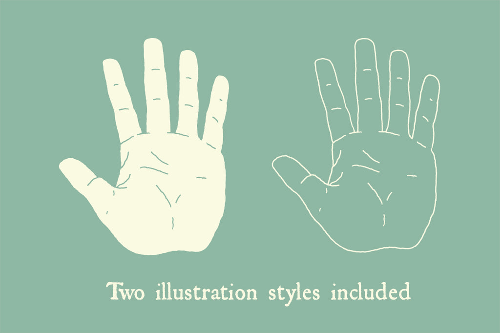Two hand illustration styles - solid & outline