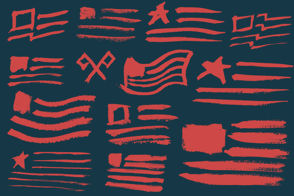 Hand painted American flags